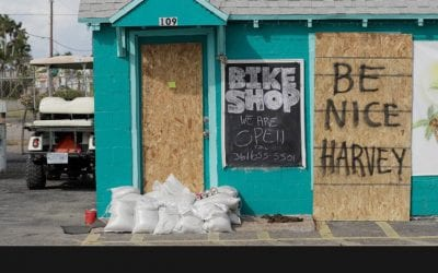 Boarded Up Business Prior To Hurricane Harvey