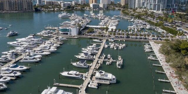 Bayfront Park And Marina Jack With Sarasota Skyline Aerial View