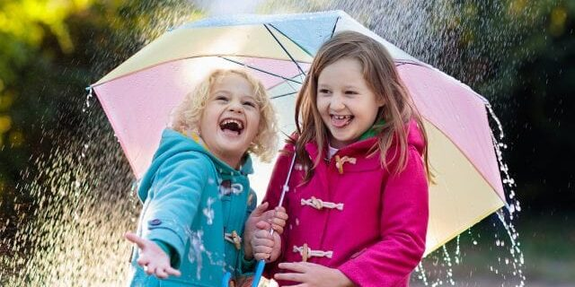 Kids With Umbrella Playing In Autumn Shower Rain.