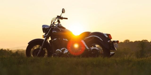 Beautiful Sunset With Motorcycle in Foreground