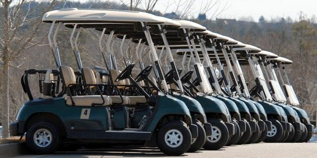Golf Carts In A Row In The Woods